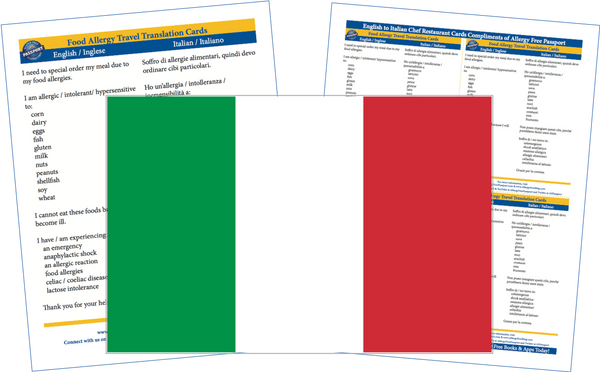 GlutenFree Passport Allergy Free Cards Italian / English Food Allergy Cards