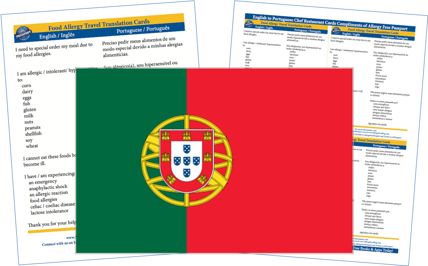 Portuguese English Food Allergy Cards
