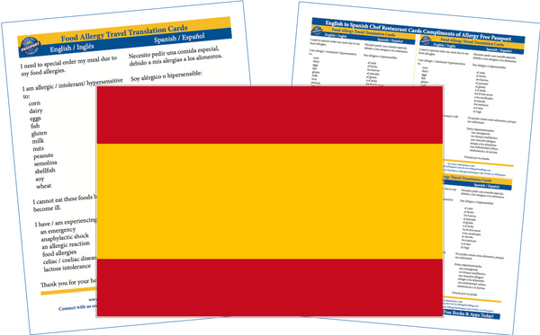 GlutenFree Passport Allergy Free Cards Spanish / English Food Allergy Cards