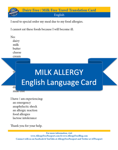 GlutenFree Passport Dairy Free Cards English Milk Allergy Cards