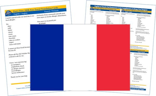 GlutenFree Passport Dairy Free Cards French / English Milk Allergy Cards