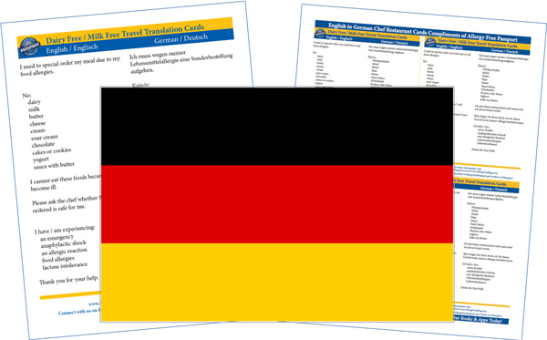 GlutenFree Passport Dairy Free Cards German / English Milk Allergy Cards