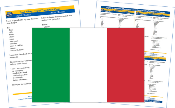 GlutenFree Passport Dairy Free Cards Italian / English Milk Allergy Cards