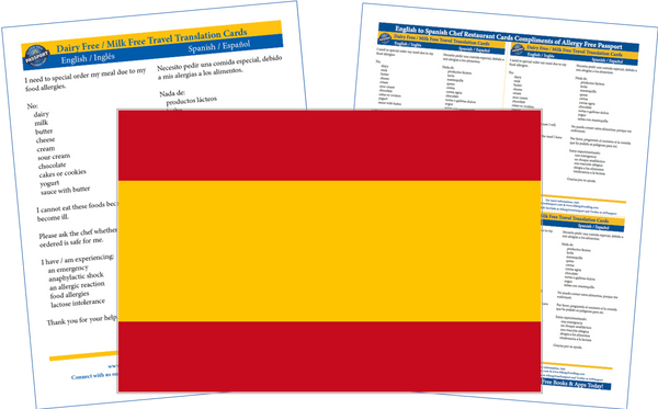 GlutenFree Passport Dairy Free Cards Spanish / English Milk Allergy Cards
