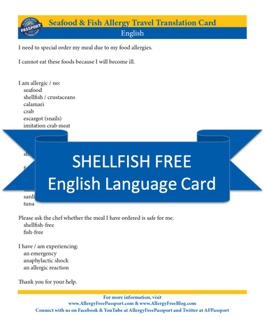 GlutenFree Passport Shellfish Free Cards English Shellfish Free Cards