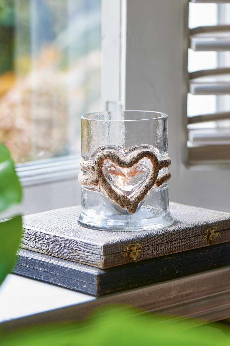 RUSTIC ROPE VOTIVE HEART