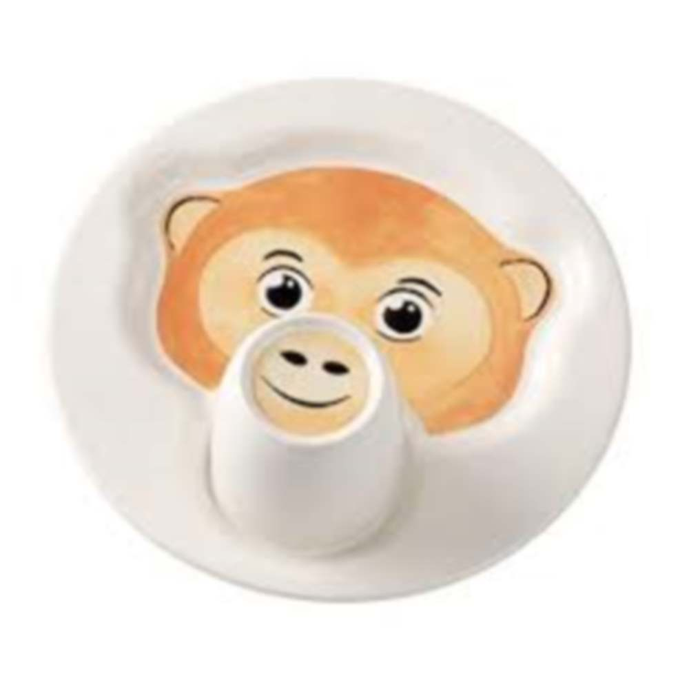 VILLEROY & BOCH ANIMAL FRIENDS PLATE WITH MUG, MONKEY