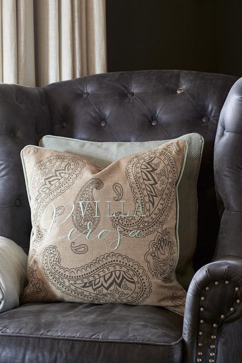 Rivièra Maison Villa Perosa Paisley - Throw pillow cover - 50 x 50 cm - Sand / Mint green
