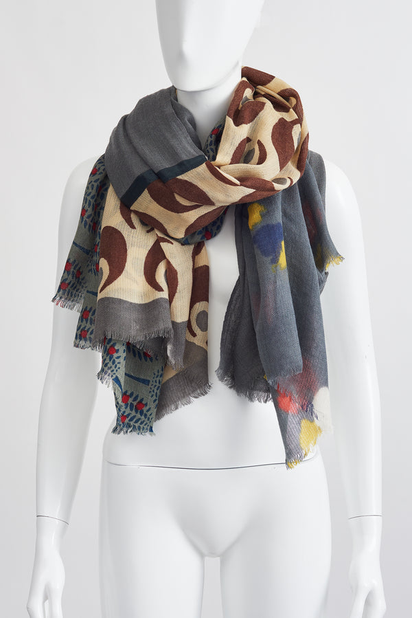 GREY FLORAL BROWN DOTS LARGE SCARF
