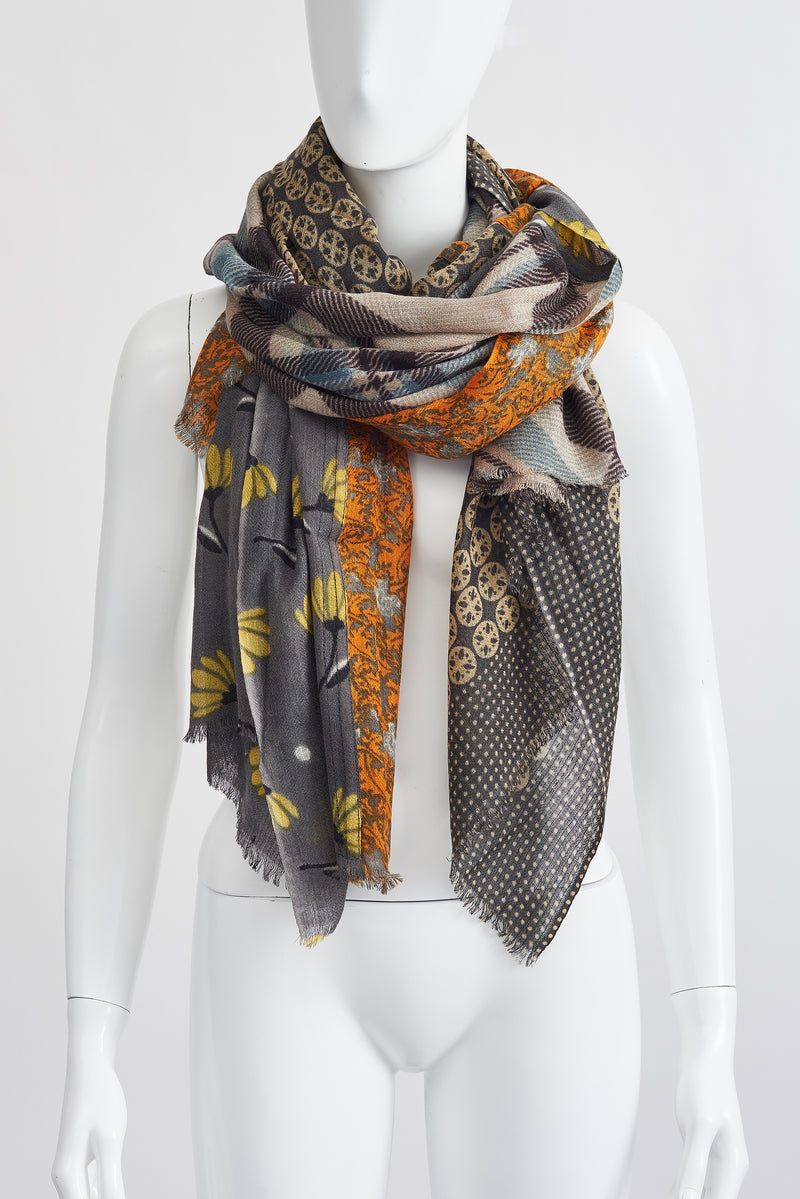 MUSTARD FLORAL LARGE SCARF