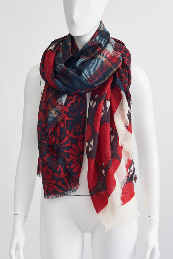 RED BLACK PLAID LARGE SCARF