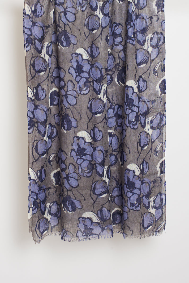 BLUE FLORAL LONG SCARF