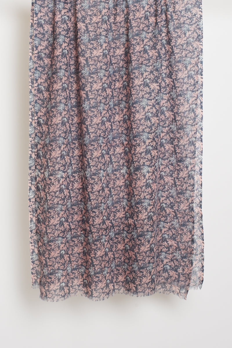 PINK FLORAL LONG SCARF