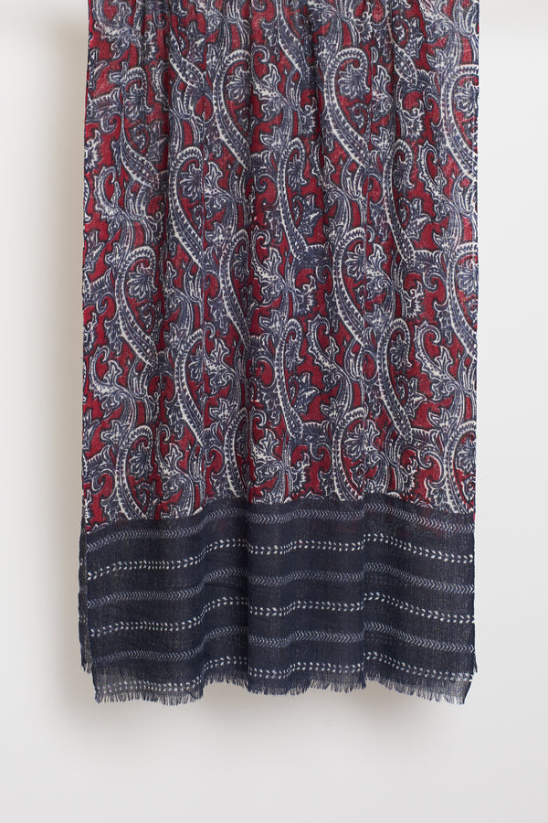 RED PAISLEY LONG SCARF