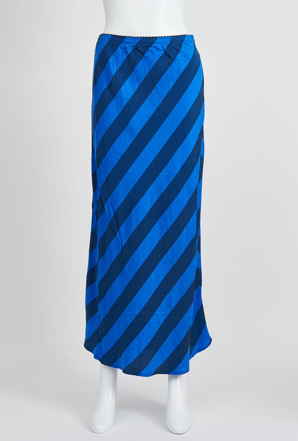 Briarwood Hattie striped bias cut skirt blue