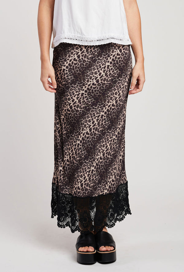 Briarwood Hattie leopard lace bias cut skirt
