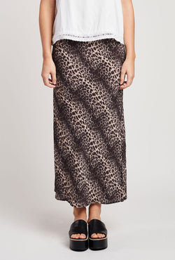 Briarwood Hattie leopard bias cut skirt