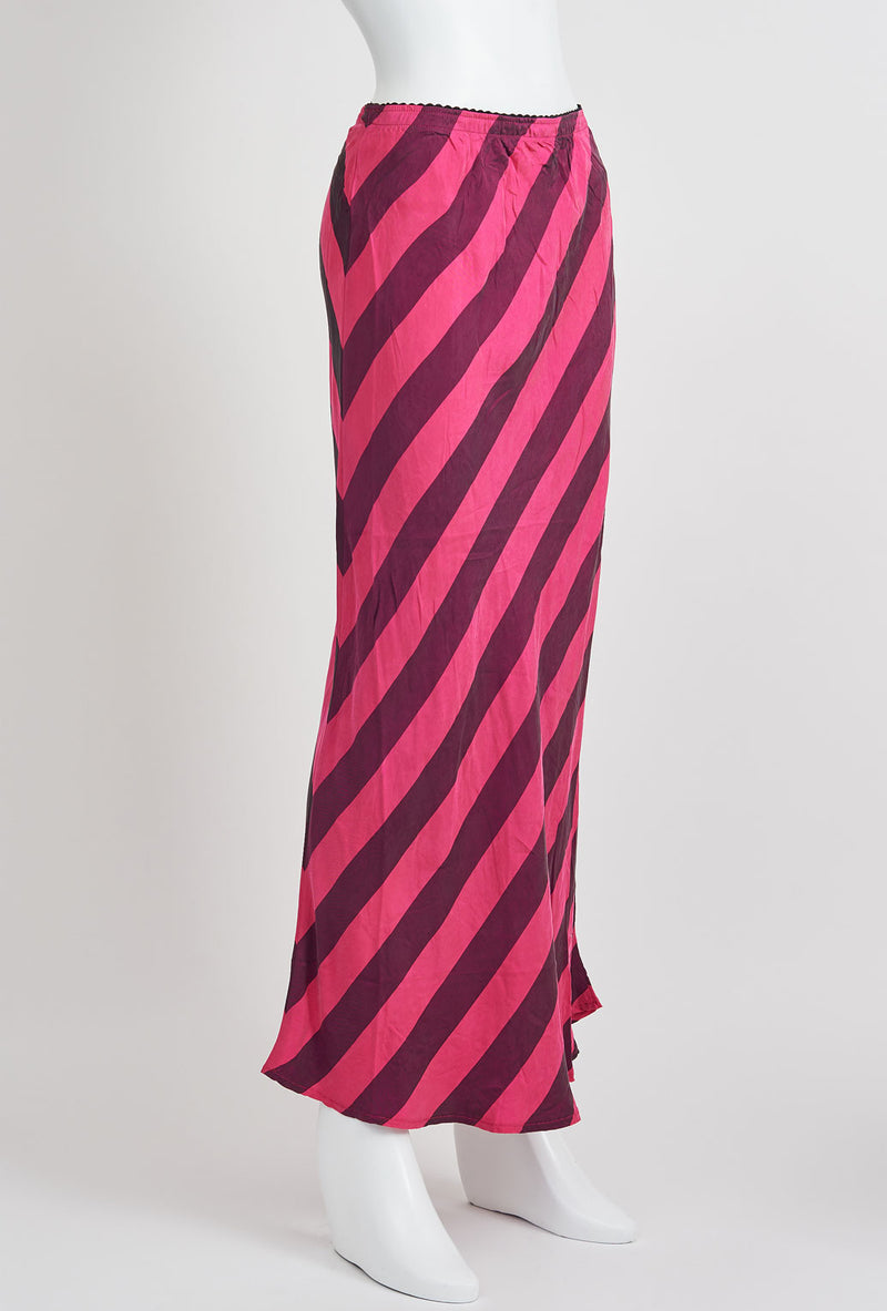 Briarwood Hattie bias cut skirt pink stripe