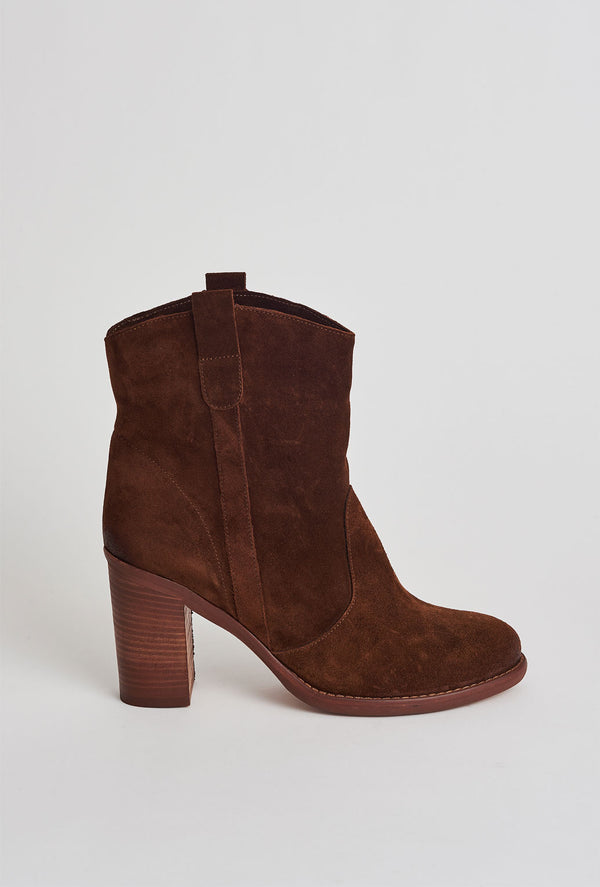 Tan suede mid heel boot