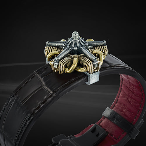 the aircraft radial engine bracelet, made of high quality leather