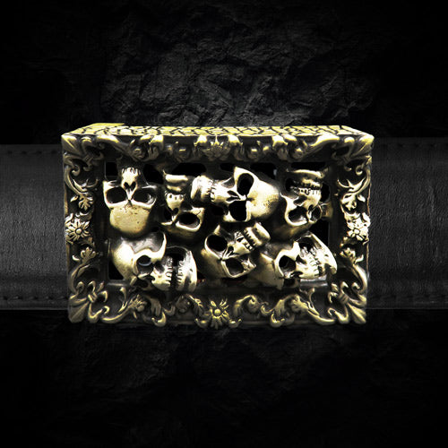 the catacombs belt buckle made of yellow bronze