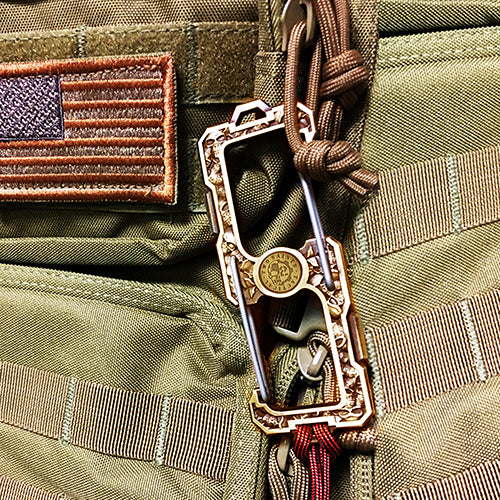 the double gated carabiner attached to a backpack of the American army