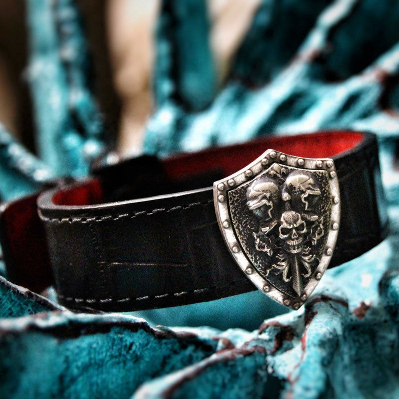 the knights of death leather bracelet