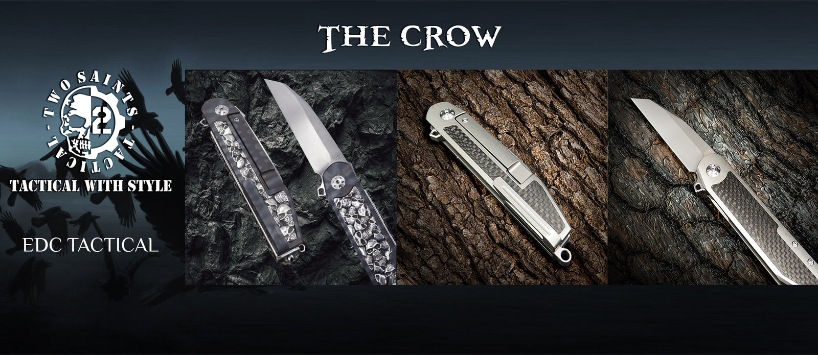 flipper knives , the crow , custom and carbon, edc tactical collection