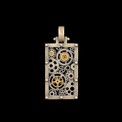 Large Square Gear Pendant bi-color