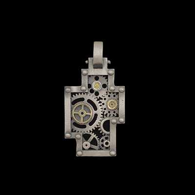 Cross Gear Pendant bi-color