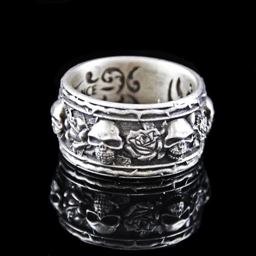 Skull & Roses Band Lucky Ring