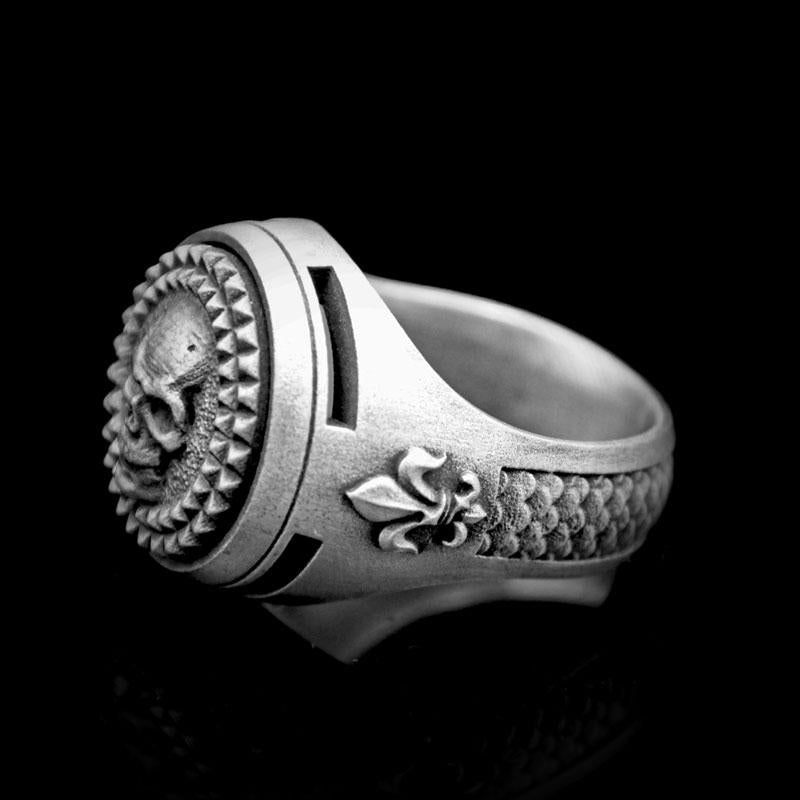 Diamond Skull Signet Ring 2 Saints
