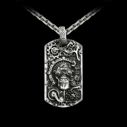 Steampunk Skull Dog Tag Pendant