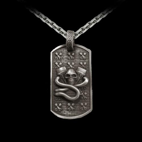 V-Twin Skull Dog Tag Pendant