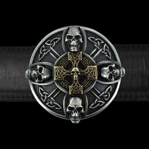 Skull Celtic Cross Belt Buckle