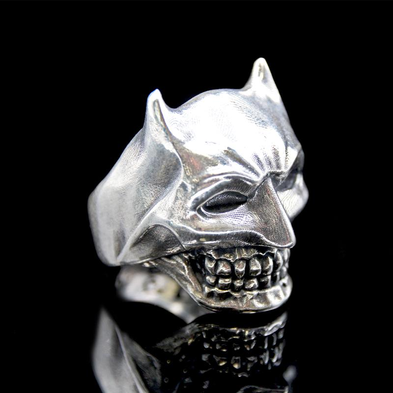 the bat skull ring silver 1