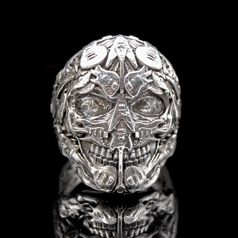 The Rocker Skull Ring 2 silver