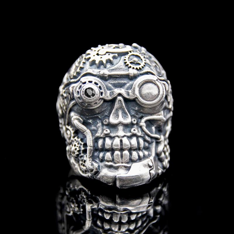 The Steampunk Skull Ring silver 4