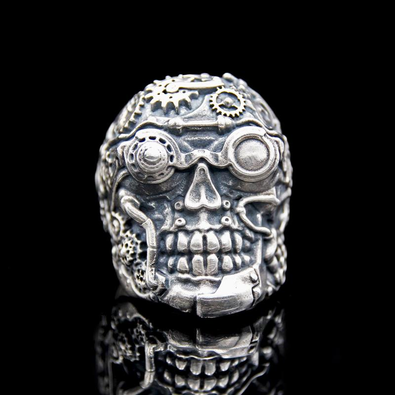 The Steampunk Skull Ring silver 2