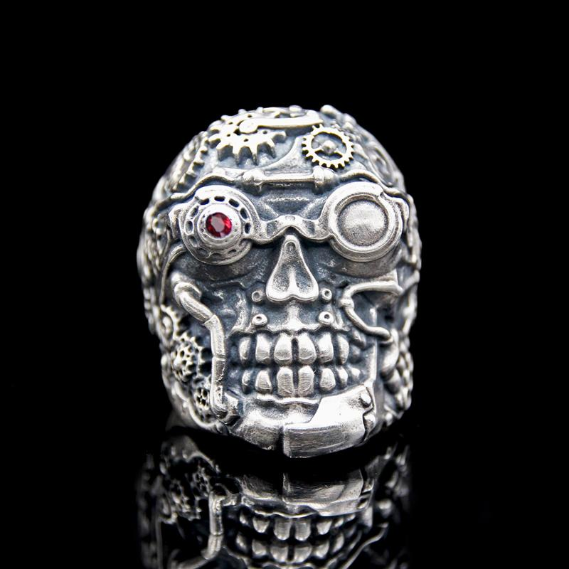 The Steampunk Skull Ring silver 3