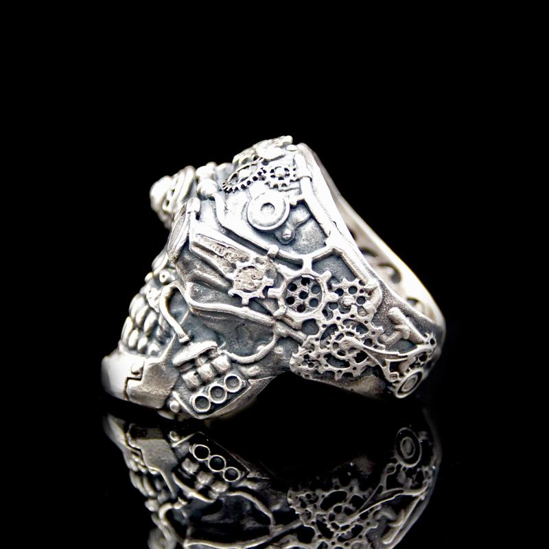 The Steampunk Skull Ring silver 5
