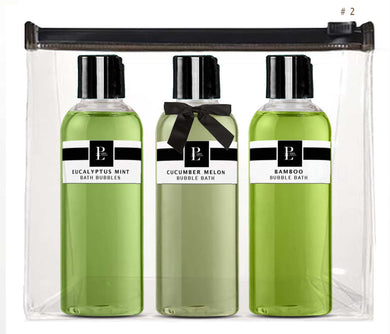 SPA BUBBLE BATH COLLECTION # 2 EUCALYPTUS MINT - CUCUMBER MELON - BAMBOO