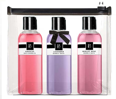 SPA BUBBLE BATH COLLECTION  # 4 HIBISCUS - MERLOT WINE - LAVENDER