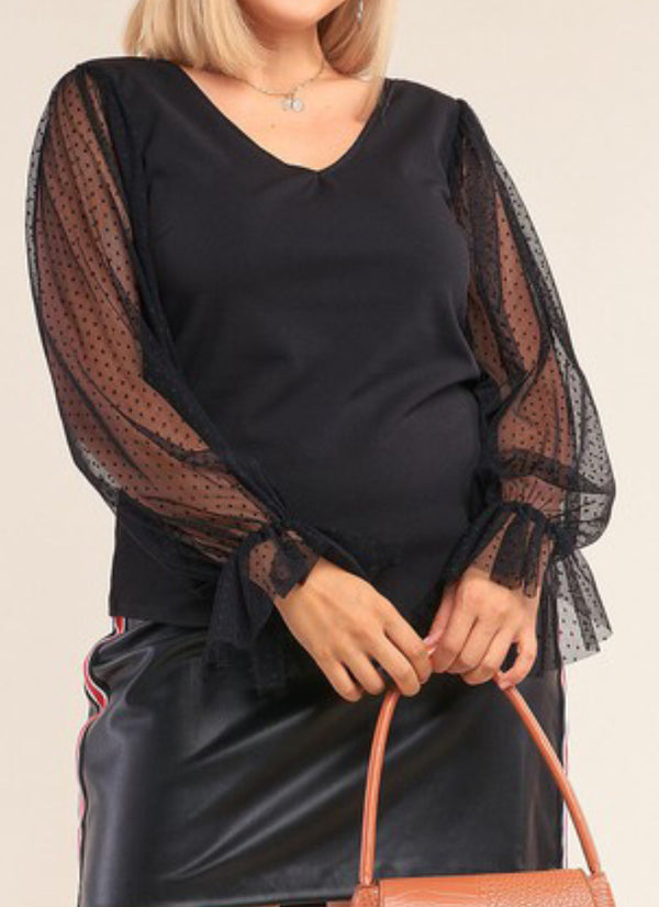 Skylar Mesh Sleeve Plus Top