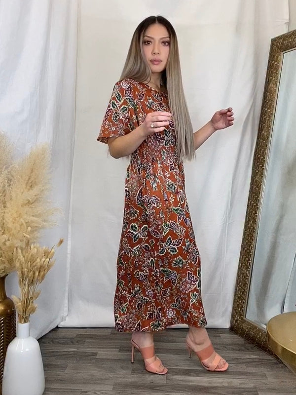 Lana Floral Satin Dress