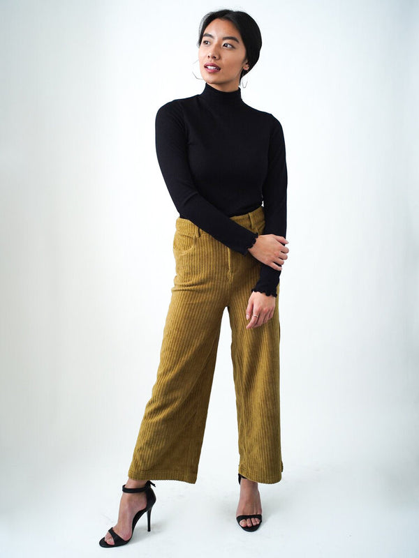 Laney Corduroy Wide-Leg Pants in Olive