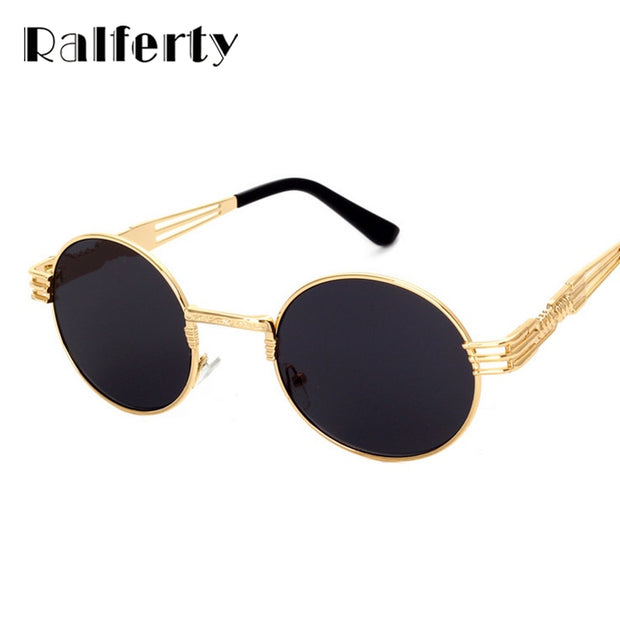 e52403893d Ralferty Hipster Vintage Steampunk Sunglasses Men Retro Steam Punk Gothic Sun  Glasses Women Gold Metal Round