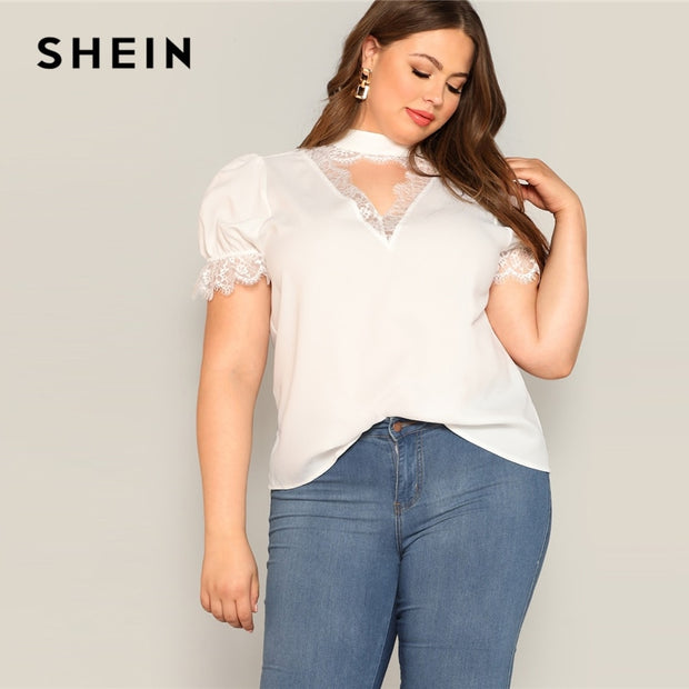 d5445bf0ddb SHEIN White Choker Neck Lace Insert Plain Top Blouse Women 2019 Spring Puff  Sleeve Elegant Stand