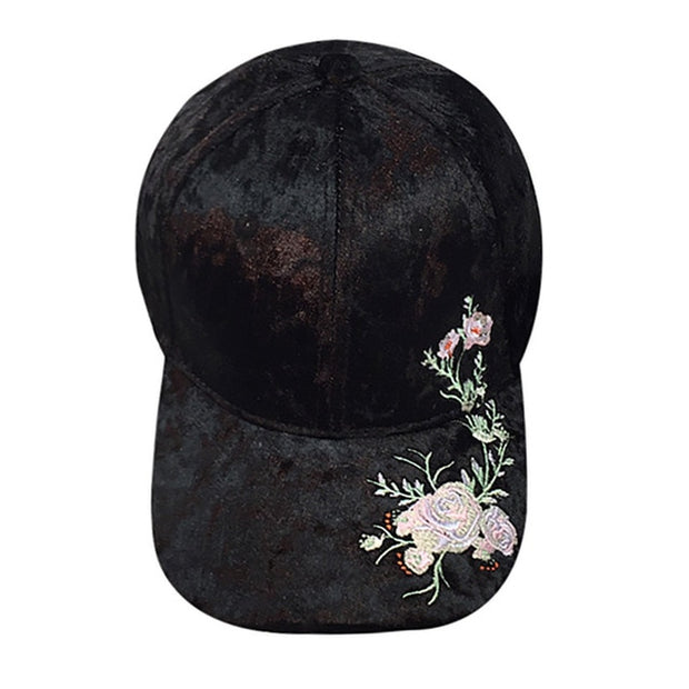 f0acc48876cfe6 Women Embroidery Flowers Flocked Baseball Caps Unisex Snapback Female  Spring Fall Warm Hat Fashion Hats for