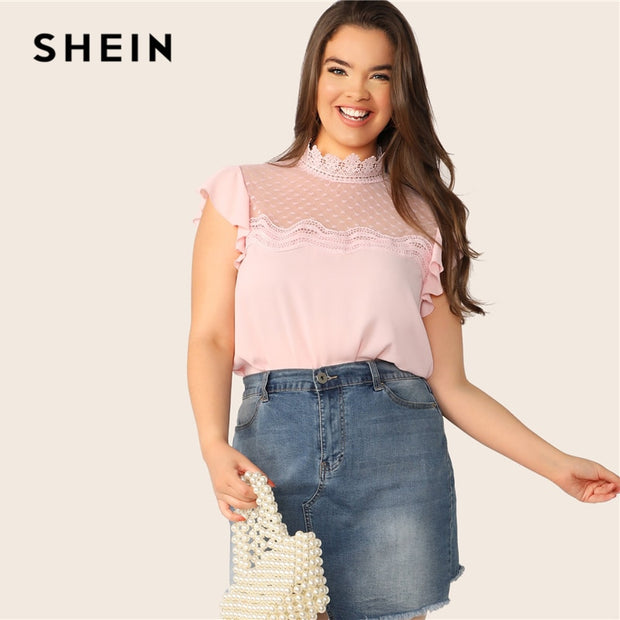 af36f170c2 SHEIN Plus Size Pink Mesh Yoke Lace Insert Ruffle Armhole Top Blouse 2019  Women Summer Stand